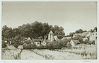 "Samuel Chamberlain, etching, ""The Verdant Village"""