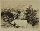 "Stephen Parrish, etching, ""Mills at Mispek, N.B."""