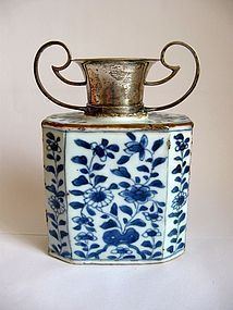 Chinese Kangxi Hexagonal Vase with Dutch Silver Top