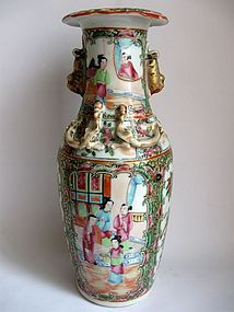 Chinese Canton Vase with Applied Dragons