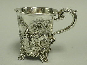 English London Sterling Silver Hunt Mug Victorian 1841
