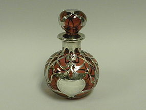Red Glass Silver Overlay Perfume Bottle by Gorham
