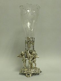 Antique German Silver & Crystal Vase with Puttis