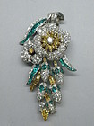 Oscar Heyman Fancy Diamond and Emerald Pin, Circa 1930