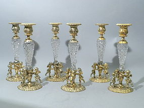 6 German Gilt-Silver Crystal Candlesticks with Cherubs