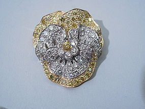 Tiffany Yellow Diamond Pansy Brooch C 1965
