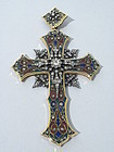 Antique Gold Diamond and Basse Taille Enamel Cross
