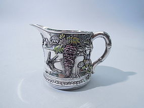 Antique Japanese Silver and Enamel Creamer Circa 1890