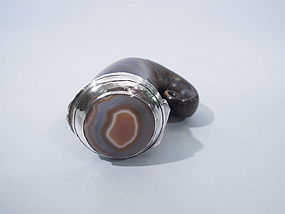 Scottish Horn Sterling & Agate Snuff Mull Circa 1860