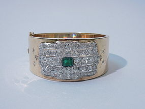 1940s Gold Bangle with Art Deco Diamond Emerald Plaque