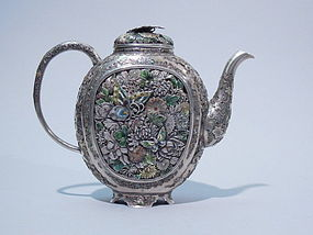 Finest Japanese Silver And Enamel Tea Pot Meiji Period