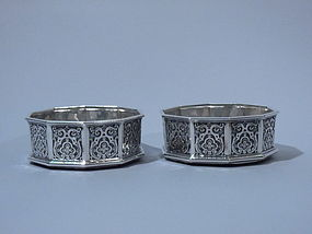 Pair English Sterling Wine Bottle Coasters London1853