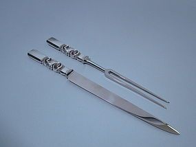 Georg Jensen Danish Sterling Scroll Carving Set C 1950