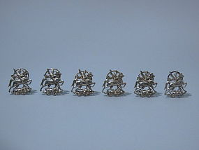Set of 6 German Sterling Place Card Holders, C 1910