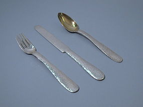 Tiffany Arts & Crafts Sterling Silver Knife Fork Spoon