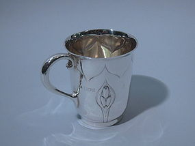 Victorian Art Nouveau English London Sterling Mug 1900