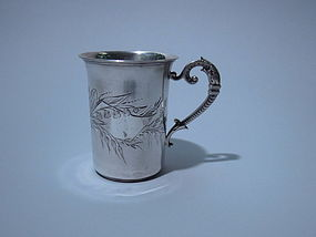 Antique European 750 Silver Mug C 1900