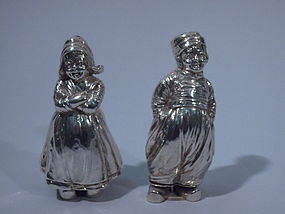 Pair German Sterling Silver Salt Pepper Shakers 1909/10