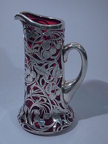 American Sterling Silver Overlay Glass Claret Jug