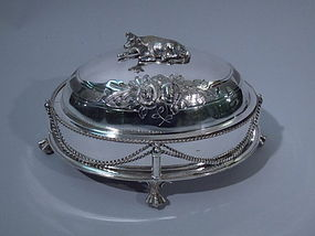 American Silver Plate Cow Butter Dish C 1910