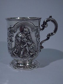 Victorian English London Sterling Silver Mug w/ Dog