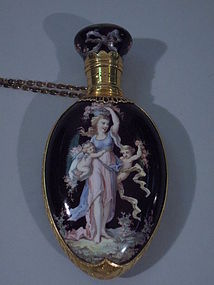 European 18 Kt Gold and Enamel Perfume Bottle C 1875