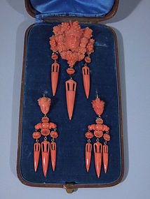 Italian Carved Coral Earrings and Brooch C 1875