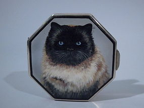 English Birmingham Sterling Silver Enamel Cat Compact