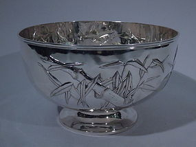 Chinese Export Silver Bamboo Bowl C 1900
