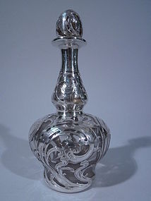 Alvin Silver Overlay Glass Perfume Bottle C 1890