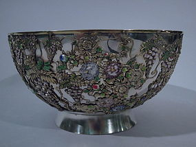 Japanese Enameled-Silver Bowl with Wisteria C 1880