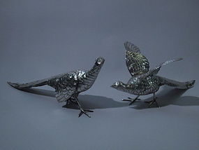 Pair of German 800 Silver Pheasants C 1900