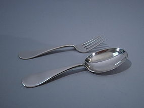 Arthur Stone Sterling Silver Baby Spoon & Fork C 1910