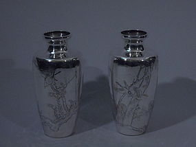 Pair of Japanese Silver Vases with Birds C 1900
