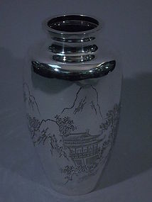 Japanese Silver Vase with Landscape C 1900