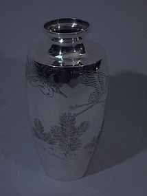 Japanese Silver Vase with Cranes C 1900