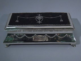 Edwardian English Jewelry Box - Silver & Tortoise Shell