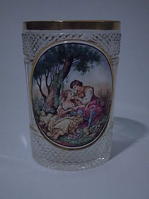 Gilt Cut-Glass Tumbler with Rococo Scene C 1900