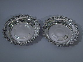 Pair of American Sterling Silver Wine Coasters C 1910