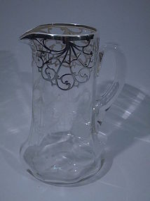 Clear Glass 999 Silver Overlay Water Pitcher C 1915