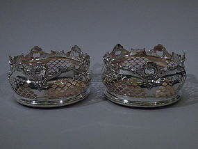 Pair of Edwardian English Silver Plate Wine Coasters