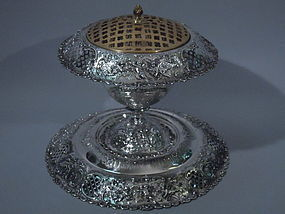 Shreve Sterling Silver Centerpiece Vase on Plateau