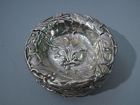8 Gorham Sterling Silver Nut Dishes C 1900