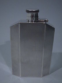 George VI Art Deco Sterling Silver Hip Flask 1939