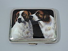 Silver Cigarette Case Enamel Swiss Mountain Dogs 1906