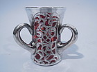 Loving Cup Silver Overlay Cranberry Glass C 1900
