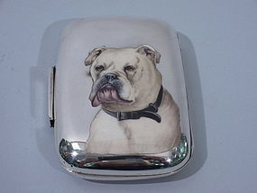 Victorian Cigarette Case with Enamel English Bull Dog