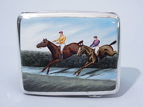 English Cigarette Case with Enamel Steeplechase Race
