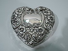 American Sterling Silver Heart Jewelry Box C 1900