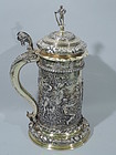 Large German Silver Gilt Tankard with Classical Frieze